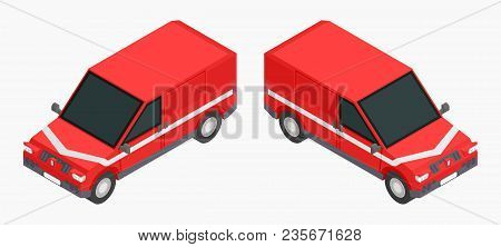 Red Isometric Cars For Cargo Transportation Stock Vector Image Illustration