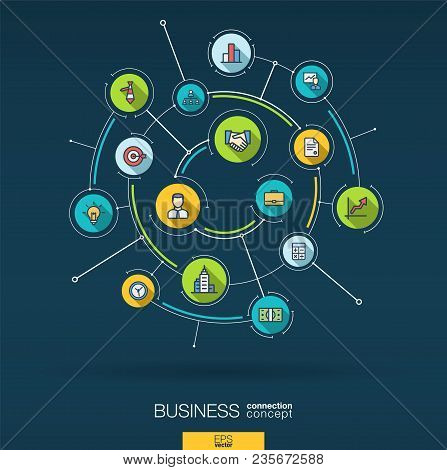 Abstract Business Strategy Background. Digital Connect System With Integrated Circles, Flat Thin Lin
