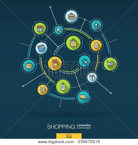 Abstract Online Shopping Background. Digital Connect System, Integrated Circles, Flat Icons, Long Sh