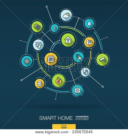 Abstract Smart Home Wireless Technology Background. Digital Connect System, Integrated Circles, Flat