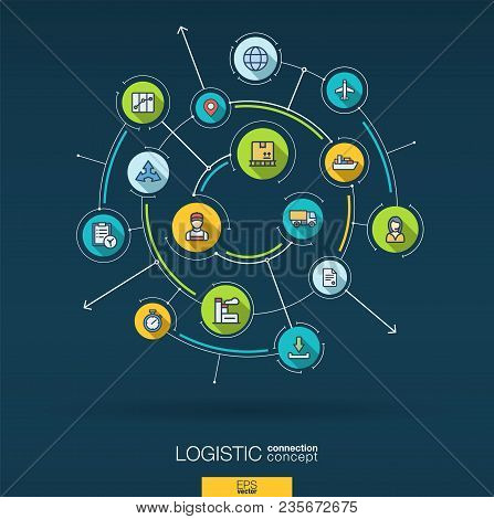 Abstract Logistic And Distribution Background. Digital Connect System With Integrated Circles, Flat