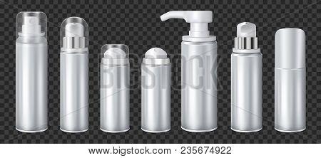 Aluminium Liquid Dispensers Mockup Aerosol Deodorants And Spray Cans Realistic Set On Dark Transpare