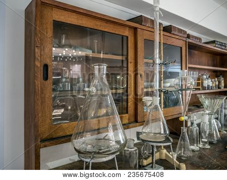 Retro style chemical classroom with flasks and chemical equipment