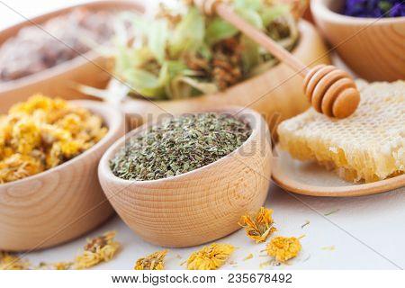 bowl full of cistus or rockrose - alternative medicine