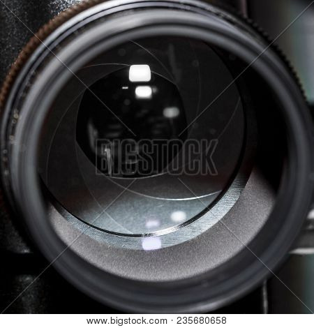 Close-up Of A M42, 200mm Lens, Front Part Isolated