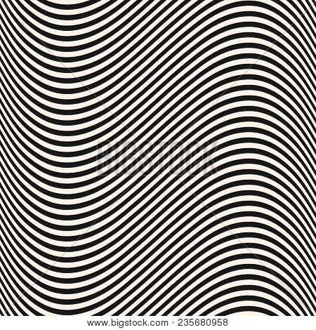 Curved Wavy Lines Seamless Pattern. Vector Texture With Black And White Waves, Thin Stripes. Dynamic