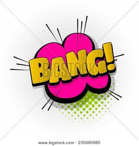 Bang Boom Hand Drawn Pictures Effects. Template Comics Speech Bubble Halftone Dot Background. Pop Ar