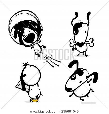 Cute Dog Hold Bone Sticker. Monochrome Puppy Collection Design. Simple Black White Sketch Vector Ill