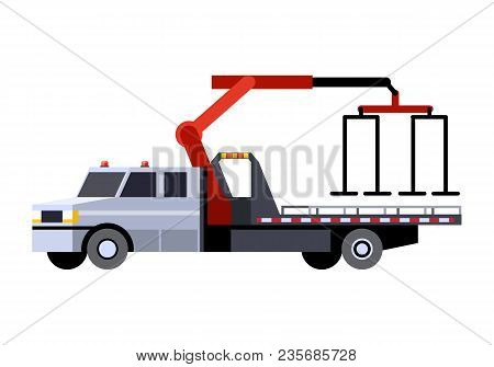Minimalistic Icon Car Hauler Truck With Crane Boom Front Side View. Car Carrier Vehicle. Vector Isol