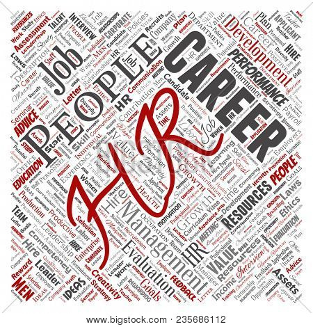 Concept conceptual hr or human resources career management square red word cloud isolated background. Collage of workplace, development, hiring success, competence goal, corporate or job poster
