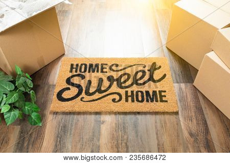 Home Sweet Home Welcome Mat, Moving Boxes and Plant on Hard Wood Floors.