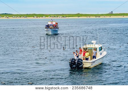 Provincetown, Cape Cod, Massachusetts, Us - August 15, 2017 Ship And Boat Looking For A Whale.