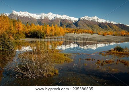 Glenn Hwy, One Of The Most Scenic Routes In Alaska, Autumn Colors Reflection In River, Alaskan Lands