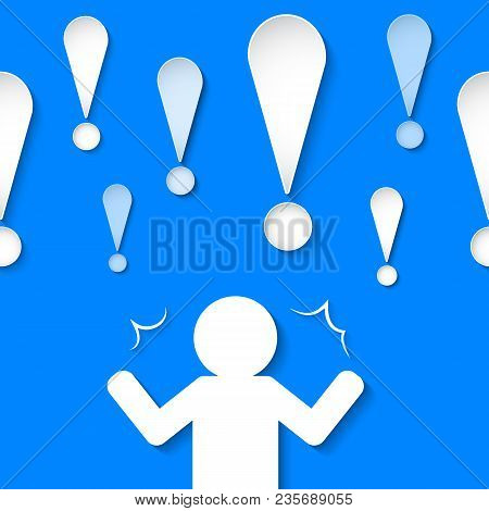 Graphic Of People With Many Exclamation Mark. Illustration. Design Template.
