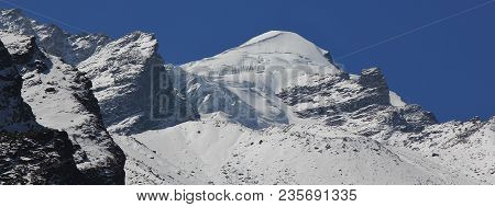 Mountain Peak In The Himalayas. Baden Powell Peak, Also Named Urkema Peak.
