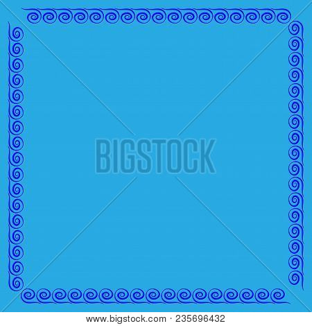 Frame Blue. Color Framework Isolated On Light Blue Background. Decoration Concept. Modern Art Scoreb