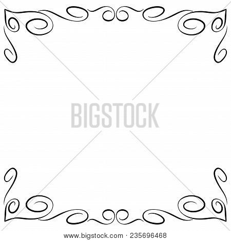 Frame Black. Decoration Banner Rim. Monochrome Framework Isolated On White Background. Modern Art Sc