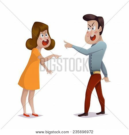 Quarrel. Young Couple Arguing. Man And Woman Shouting At Each Other. Problems In Relationships, Disa