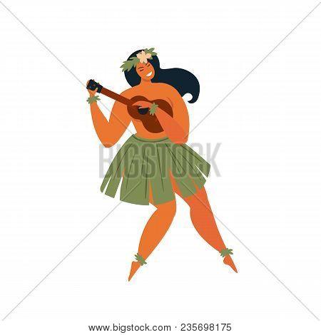 Hawaiian Hula Dancer Young Pretty Woman. Vector Illustration.