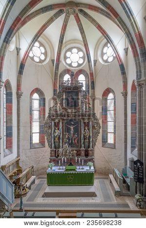 Carta, Romania - 13 August, 2017: The Interior Of A Chatolic Church.