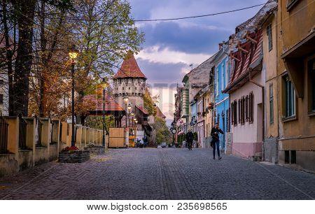 Sibiu, Romania - 23 October, 2017: View To The Cetatii Street In Sibiu, Romania.