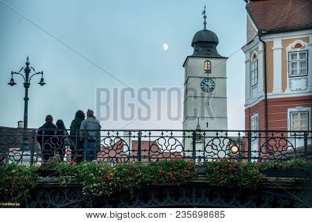 Sibiu, Romania - 30 October, 2017: The Bridge Of Lies And The Council Tower. In The Historical Cente