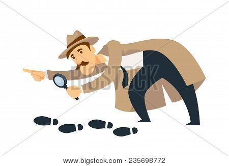 Professional Detective In Beige Coat And Hat With Thick Mustaches And Magnifier Follows Footprints A