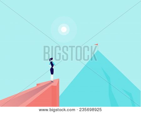 Vector Business Concept Illustration With Businesslady Standing On Big Arrow Pointing On Mountain Pe
