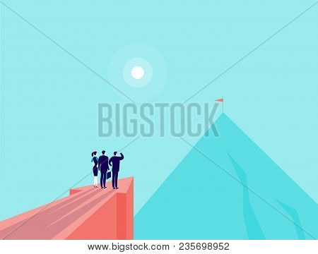 poster of Vector business concept illustration with business people standing on big arrow pointing on mountain peak. Office people watching at new top. New aim, team work, achievements, partnership - metaphor.