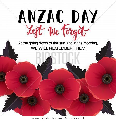 Vector illustration vector photo free trial bigstock vector illustration of a bright poppy flowers remembrance day symbol lest we forget lettering mightylinksfo