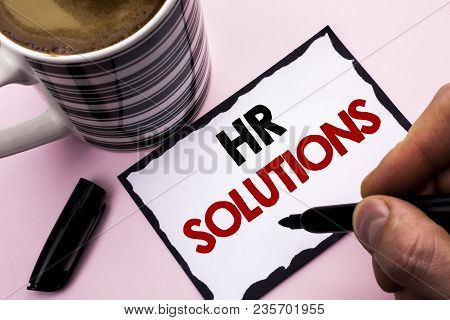 Handwriting Text Writing Hr Solutions. Concept Meaning Recruitment Solution Consulting Management So