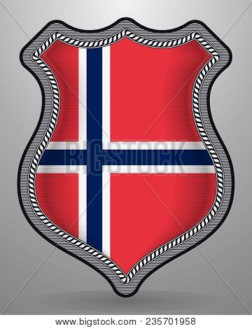 Flag Of Norway. Vector Badge And Icon
