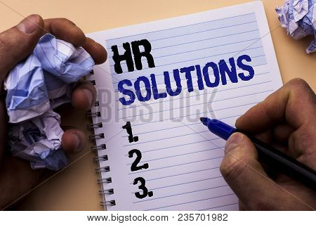 Handwriting Text Hr Solutions. Concept Meaning Recruitment Solution Consulting Management Solving On