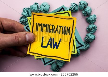 Handwriting Text Immigration Law. Concept Meaning National Regulations For Immigrants Deportation Ru