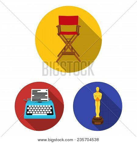 Films And Cinema Flat Icons In Set Collection For Design.movies And Attributes Vector Symbol Stock