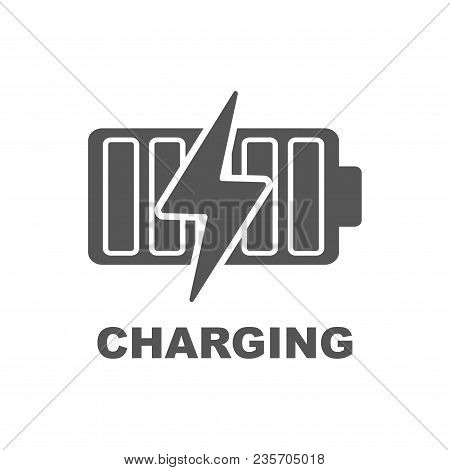 Battery Charging Vector Icon. Black Sign On White Background. Eps 10