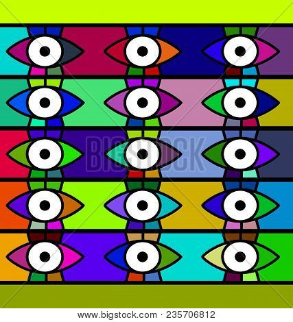 Abstract Colored Background Image Consisting Of Lines And Eyes