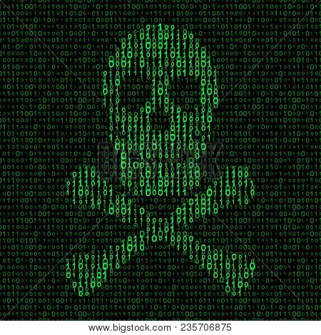 Skull And Crossbones With Binary Code. Virus Concept. Vector Illustration - Eps 8