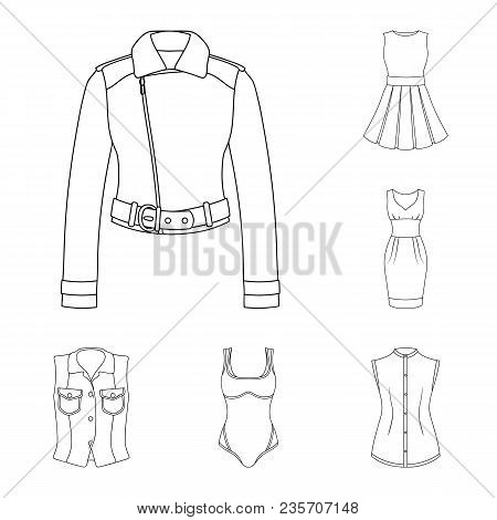 Women Clothing Outline Icons In Set Collection For Design.clothing Varieties And Accessories Vector
