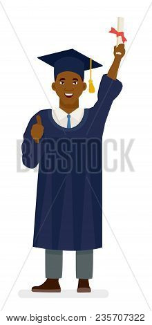 Education, Graduation And People Concept - Happy African American Student In Mortar Boards And Bache