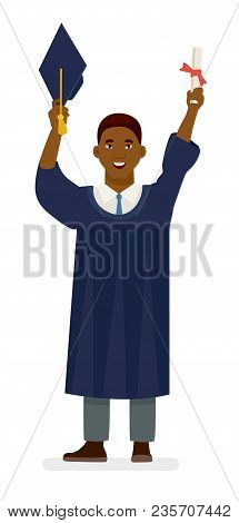 Happy Graduate. Happy African Man In Graduation Gowns Holdin. Cartoon Vector Flat Character Illustra