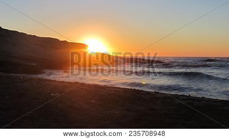 Cabo De Gata - Almeria - Spain. August 9, 2016. Sunrise In El Playaso Of Rodalquilar Beach. Gata-níj