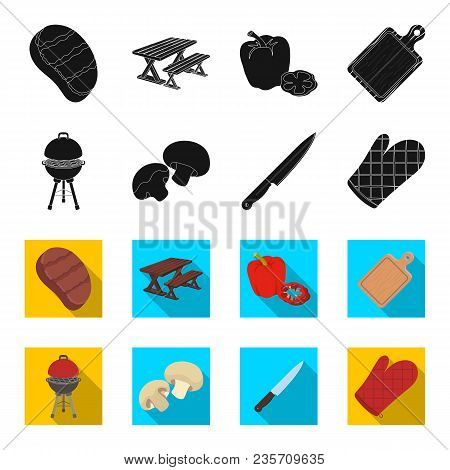 Barbeque Grill, Champignons, Knife, Barbecue Mitten.bbq Set Collection Icons In Black, Flet Style Ve
