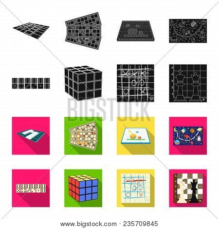 Board Game Black, Flet Icons In Set Collection For Design. Game And Entertainment Vector Symbol Stoc