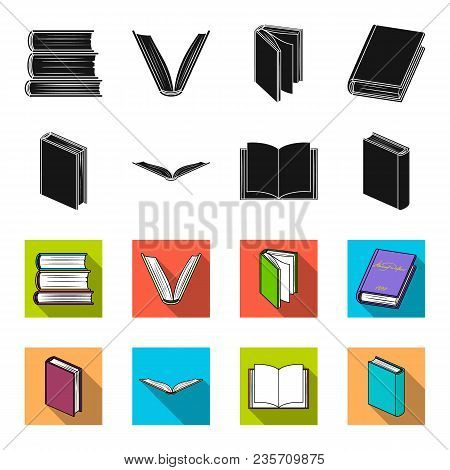 Various Kinds Of Books. Books Set Collection Icons In Black, Flet Style Vector Symbol Stock Illustra