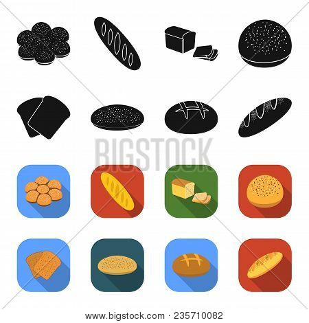 Toast, Pizza Stock, Ruffed Loaf, Round Rye.bread Set Collection Icons In Black, Flet Style Vector Sy