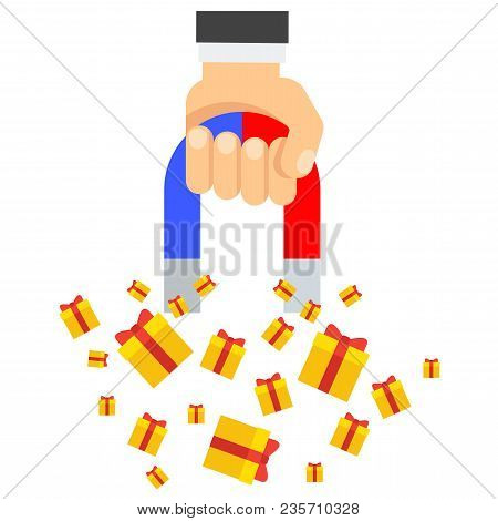 Attraction Of Gifts. Flat Vector Cartoon Illustration. Objects Isolated On White Background.