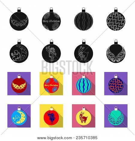 New Year Toys Black, Flet Icons In Set Collection For Design.christmas Balls For A Treevector Symbol