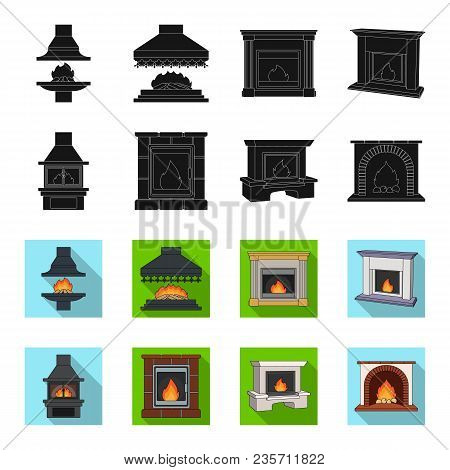 Fire, Warmth And Comfort. Fireplace Set Collection Icons In Black, Flet Style Vector Symbol Stock Il