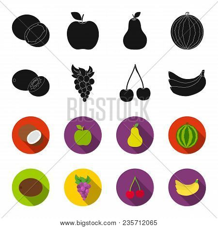 Kiwi, Grapes, Cherry, Banana.fruits Set Collection Icons In Black, Flet Style Vector Symbol Stock Il